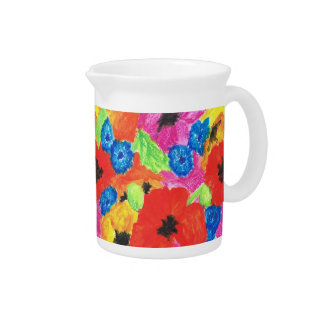 Bright Poppies and Cornflowers Pitcher or Jug