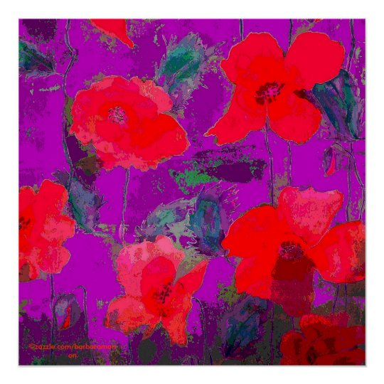 bright poppies on purple poster