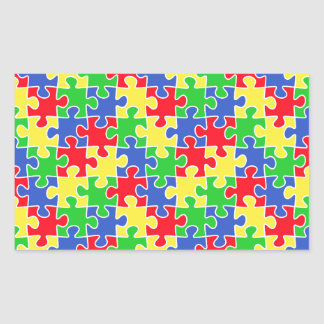 Bright Primary Colors Jigsaw Puzzle Pieces Rectangular Sticker