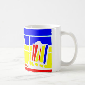 bright primary colour deckchairs mug