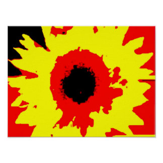bright primary colour summer sunflower watercolour poster