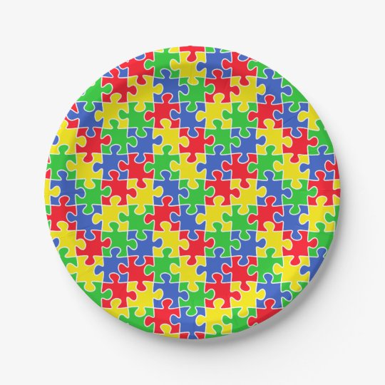 Bright Primary Colours Jigsaw Puzzle Pieces Paper Plate