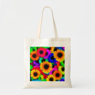 Bright Psychedelic Flower Child Hippy Pattern Budget Tote Bag