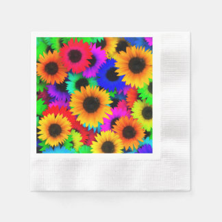 Bright Psychedelic Flower Child Hippy Pattern Disposable Serviettes