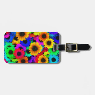 Bright Psychedelic Flower Child Hippy Pattern Luggage Tag