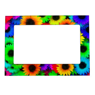 Bright Psychedelic Flower Child Hippy Pattern Picture Frame Magnet