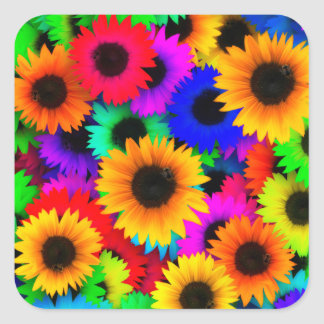 Bright Psychedelic Flower Child Hippy Pattern Square Sticker