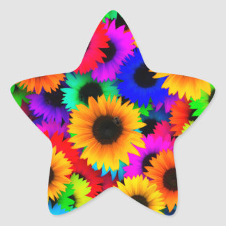 Bright Psychedelic Flower Child Hippy Pattern Star Sticker