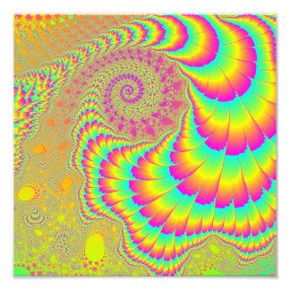 Bright Psychedelic Infinite Spiral Fractal Art Photo Art