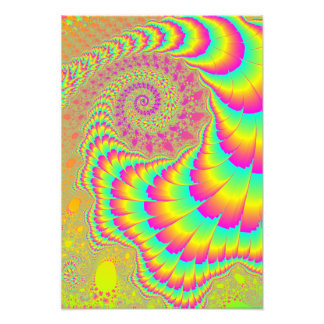 Bright Psychedelic Infinite Spiral Fractal Art Photograph