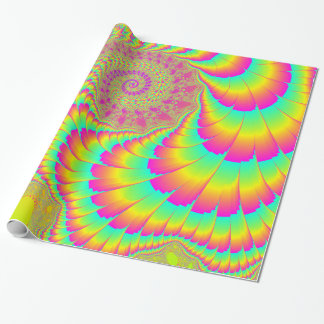 Bright Psychedelic Infinite Spiral Fractal Art Wrapping Paper