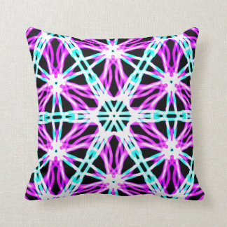 Bright Purple and Black Laser Kaleidoscope Pattern Cushion