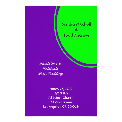 Bright purple and lime green Mod Wedding Customized Stationery