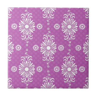Bright Purple and White Floral Pattern Tiles