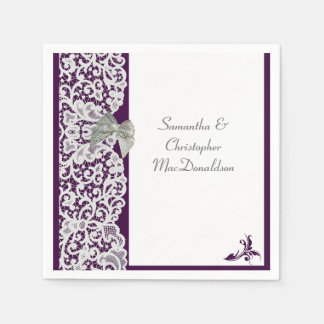 Bright purple and white lace traditional wedding disposable serviette