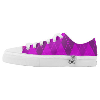 Bright Purple Argyle Printed Shoes