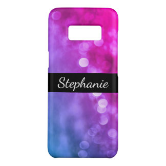 Bright Purple, Blue Bokeh Lights with Name Case-Mate Samsung Galaxy S8 Case