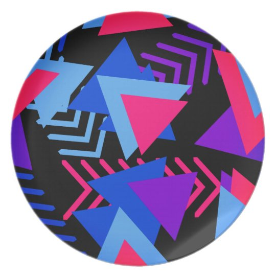 Bright Purple, Blue, Pink 80's Background Pattern Plate