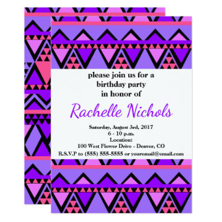 Bright Purple, Blue, Pink 80's Zig Zag Pattern Card