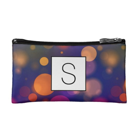 Bright Purple, Blue, Pink Bokeh Background Pattern Makeup Bag