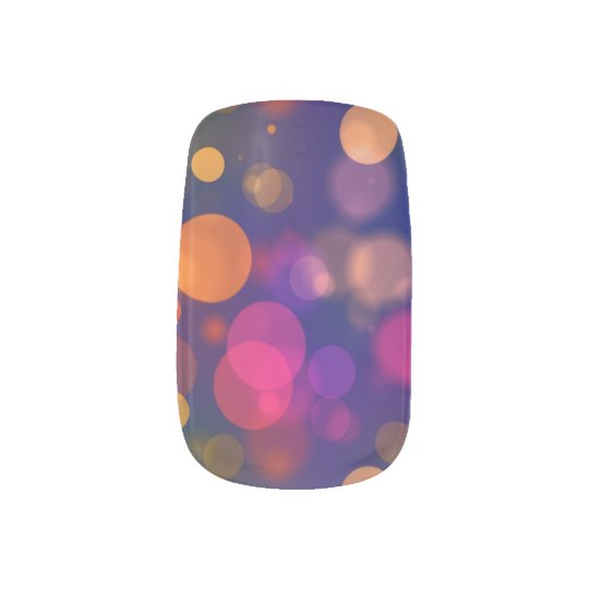Bright Purple, Blue, Pink Bokeh Background Pattern Nail Art