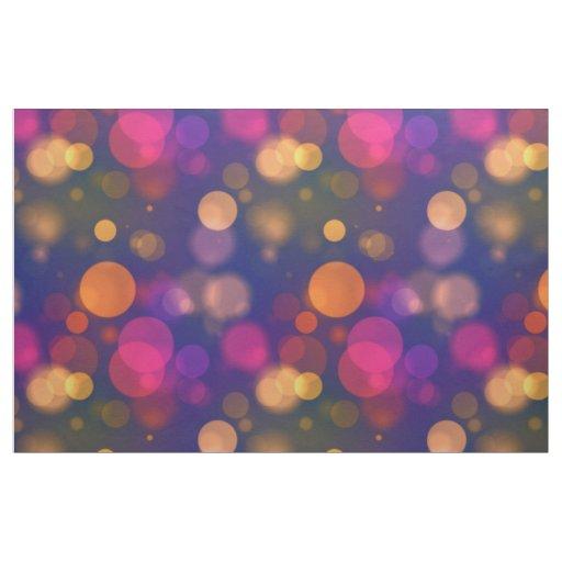 Bright Purple, Blue, Pink Bokeh Lights Pattern Fabric