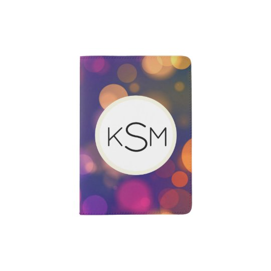 Bright Purple, Blue, Pink Bokeh Lights Pattern Passport Holder