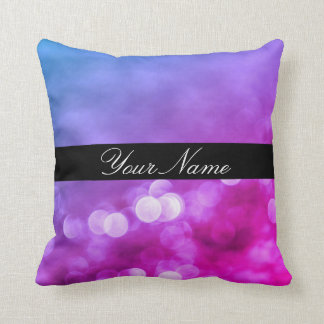 Bright Purple, Blue, Pink Bokeh Lights With Name Cushion