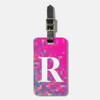 Bright Purple, Blue Square Lights with Initial Bag Tag