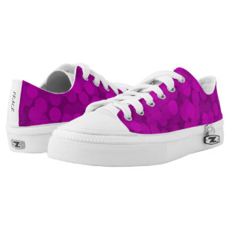 Bright Purple Bubbles Pattern Low Top Canvas Shoes