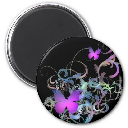 Bright Purple Butterfly 6 Cm Round Magnet