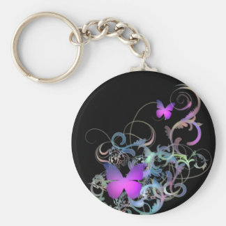 Bright Purple Butterfly Basic Round Button Key Ring