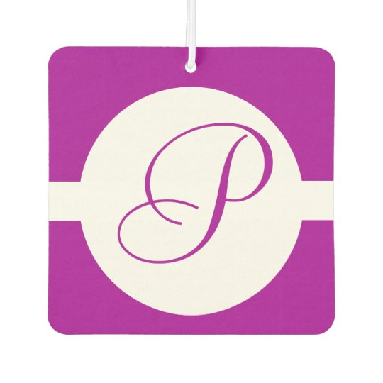 Bright Purple Circle Monogram Car Air Freshener