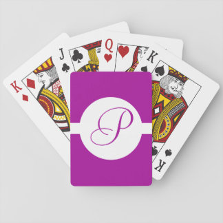 Bright Purple Circle Monogram Playing Cards