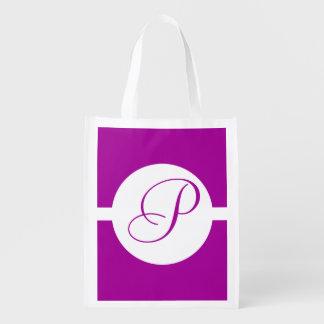Bright Purple Circle Monogram Reusable Grocery Bag