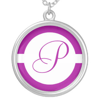 Bright Purple Circle Monogram Silver Plated Necklace