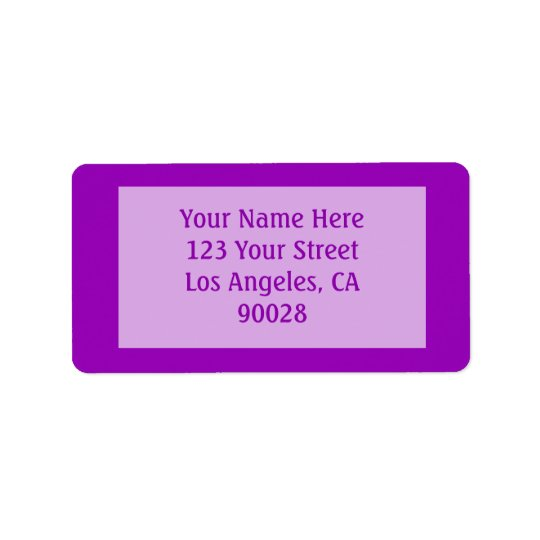 bright purple colour address label