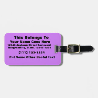 bright purple do it yourself design template travel bag tag