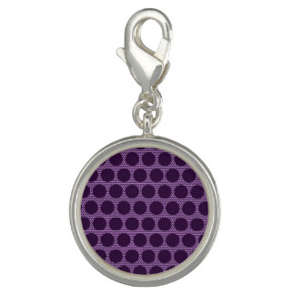 Bright Purple Dot Round Charm