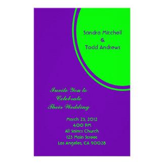 bright purple green mod circle wedding stationery