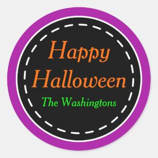 Bright Purple Happy Halloween Stickers