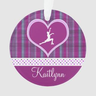 Bright Purple Heart and Aqua Stripes Figure Skater