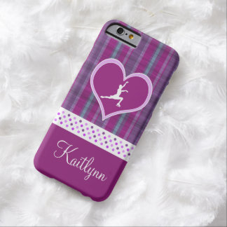 Bright Purple Heart and Aqua Stripes Figure Skater Barely There iPhone 6 Case