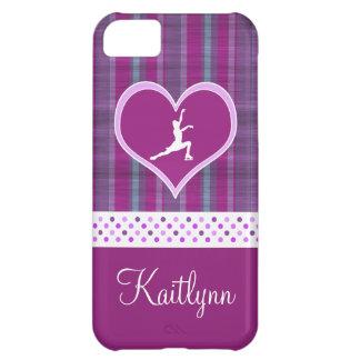 Bright Purple Heart and Aqua Stripes Figure Skater iPhone 5C Case