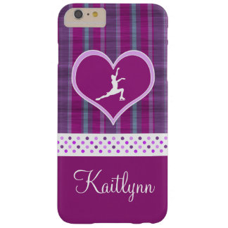 Bright Purple Heart and Aqua Stripes Figure Skater Barely There iPhone 6 Plus Case
