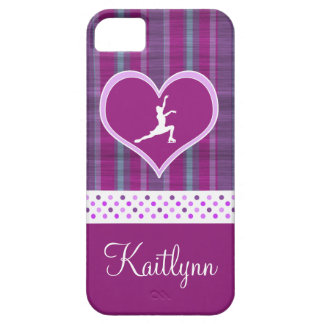Bright Purple Heart and Aqua Stripes Figure Skater Barely There iPhone 5 Case