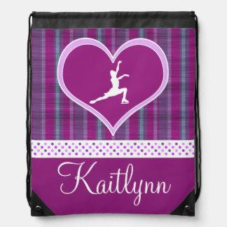 Bright Purple Heart and Aqua Stripes Figure Skater Drawstring Backpacks
