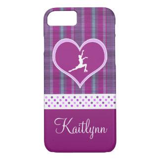 Bright Purple Heart and Aqua Stripes Figure Skater iPhone 7 Case