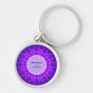 Bright Purple Mandala Key Ring