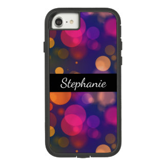 Bright Purple, Pink Bokeh Background with Name Case-Mate Tough Extreme iPhone 7 Case